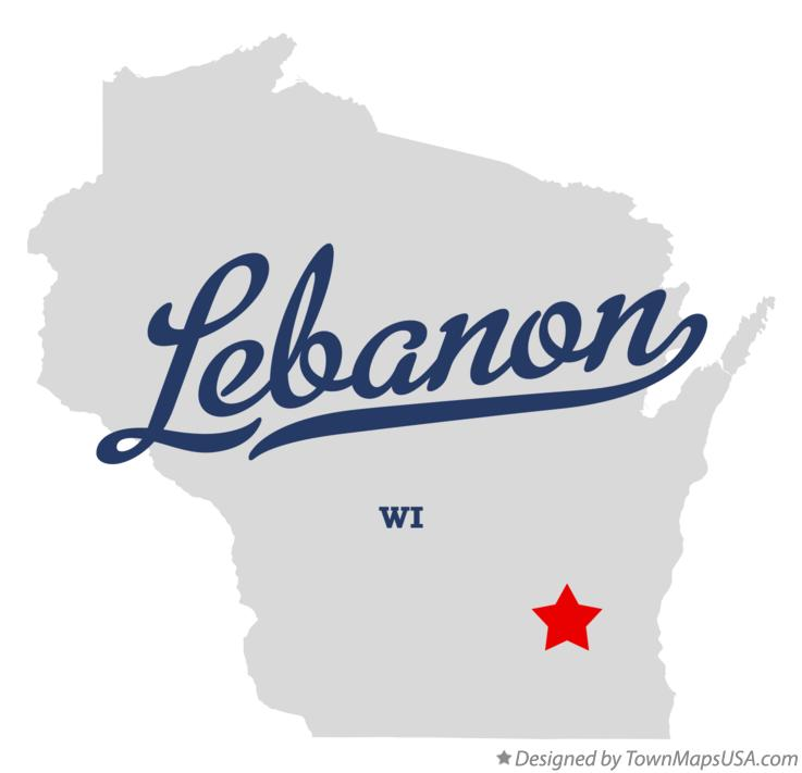 Map of Lebanon Wisconsin WI
