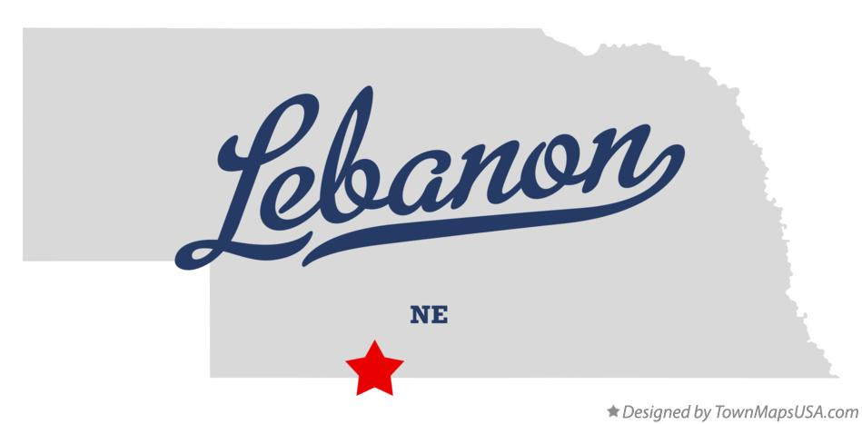 Map of Lebanon Nebraska NE