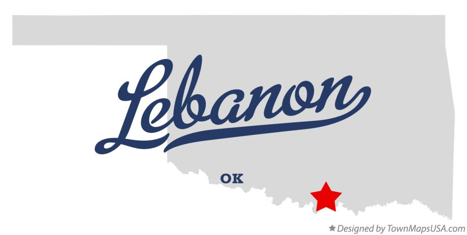 Map of Lebanon Oklahoma OK