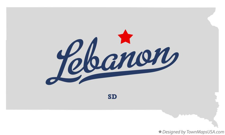 Map of Lebanon South Dakota SD