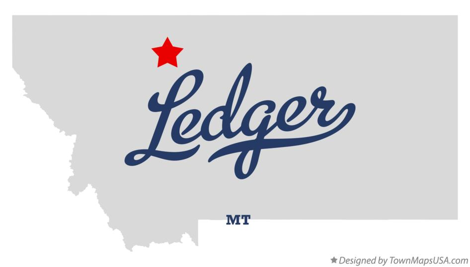 Map of Ledger Montana MT