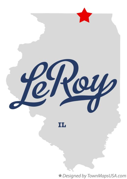 Map of LeRoy Illinois IL