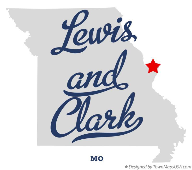 Map of Lewis and Clark Missouri MO