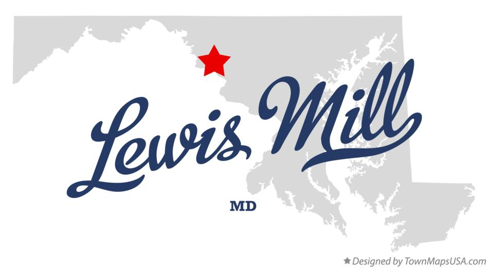 Map of Lewis Mill Maryland MD