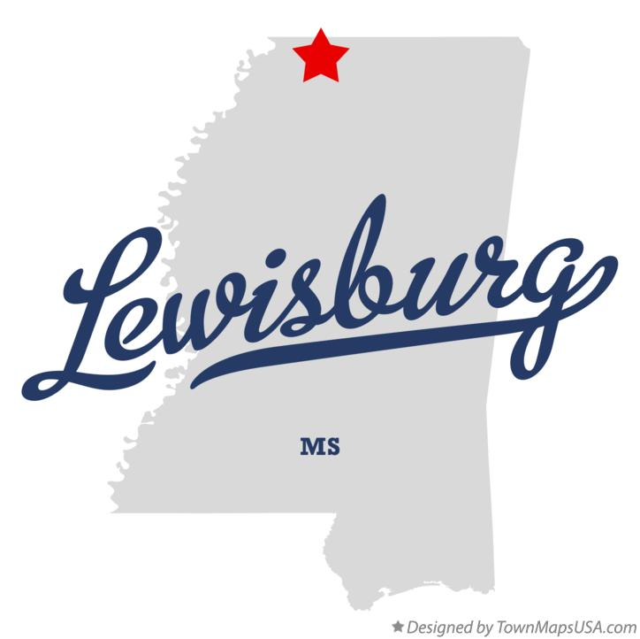 Map of Lewisburg Mississippi MS