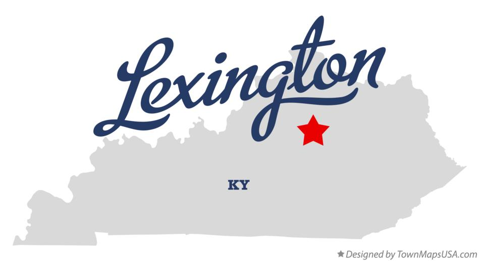 Map of Lexington Kentucky KY