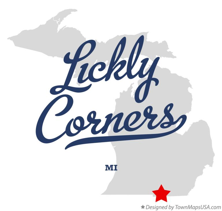 Map of Lickly Corners Michigan MI