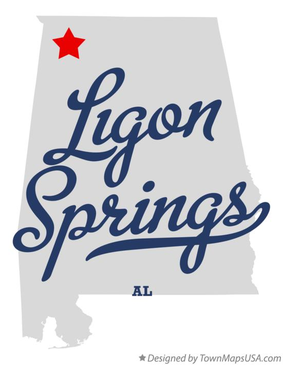 Map of Ligon Springs Alabama AL