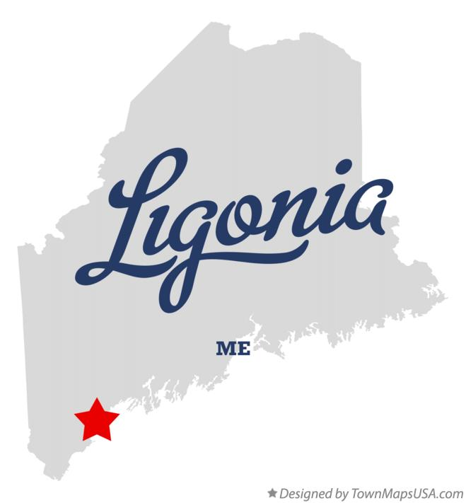 Map of Ligonia Maine ME
