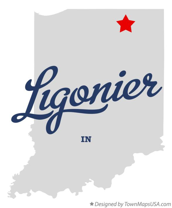 Map of Ligonier Indiana IN