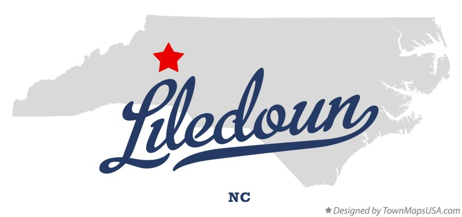 Map of Liledoun North Carolina NC