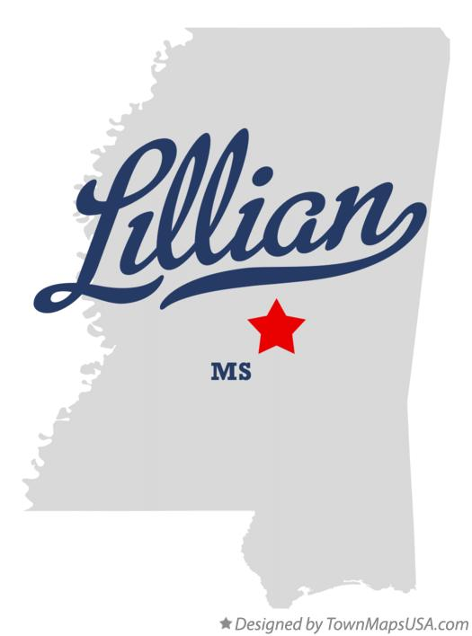 Map of Lillian Mississippi MS