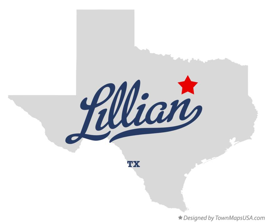 Map of Lillian Texas TX