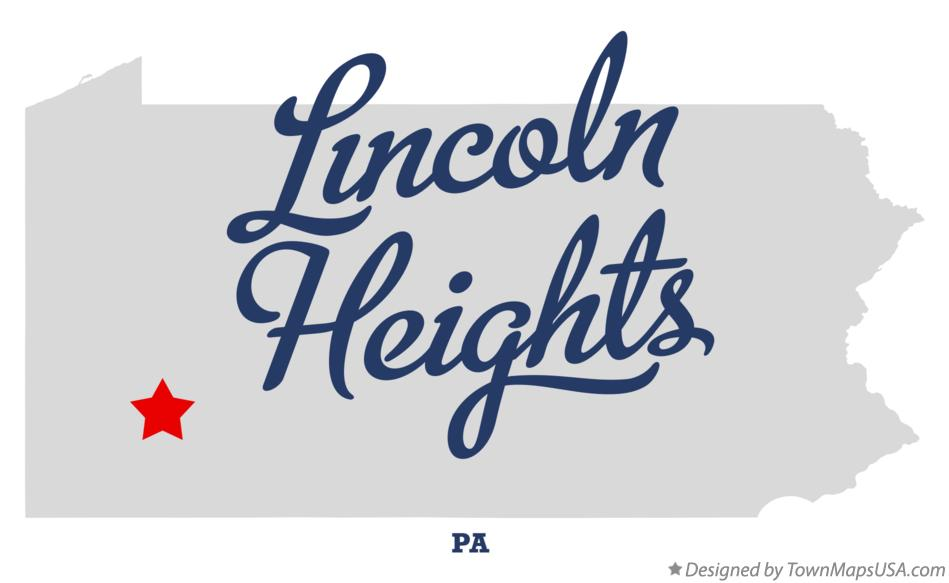 Map of Lincoln Heights Pennsylvania PA