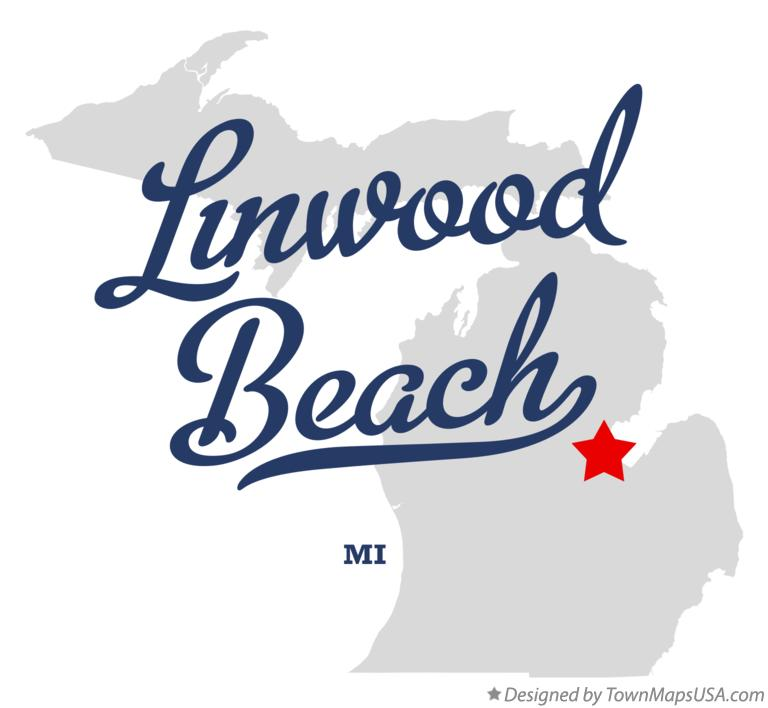 Map of Linwood Beach Michigan MI