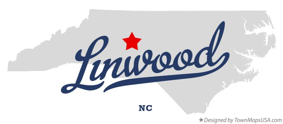 Map of Linwood North Carolina NC