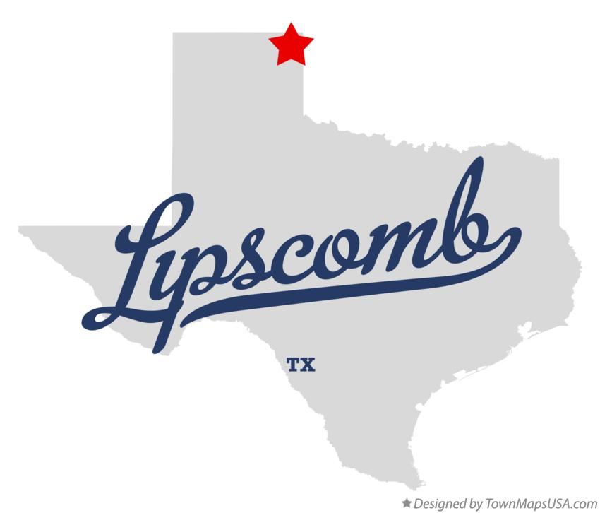 Map of Lipscomb Texas TX