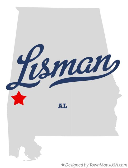Map of Lisman Alabama AL