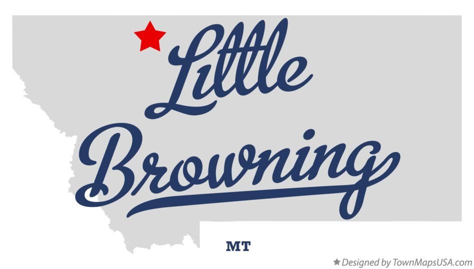 Map of Little Browning Montana MT
