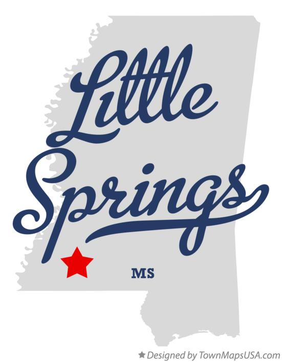 Map of Little Springs Mississippi MS