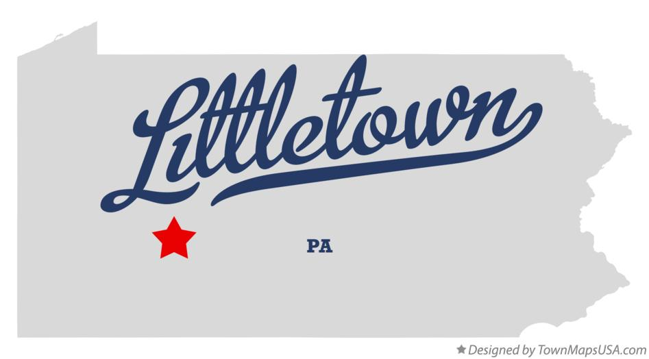 Map of Littletown Pennsylvania PA