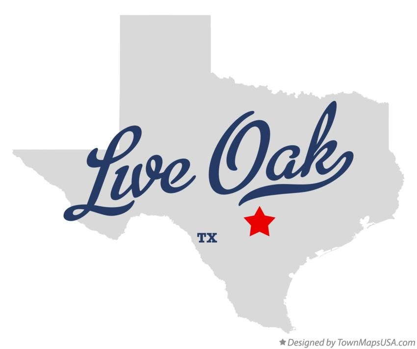 Map of Live Oak Texas TX