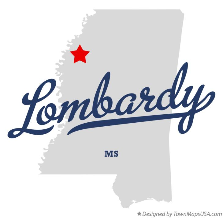 Map of Lombardy Mississippi MS