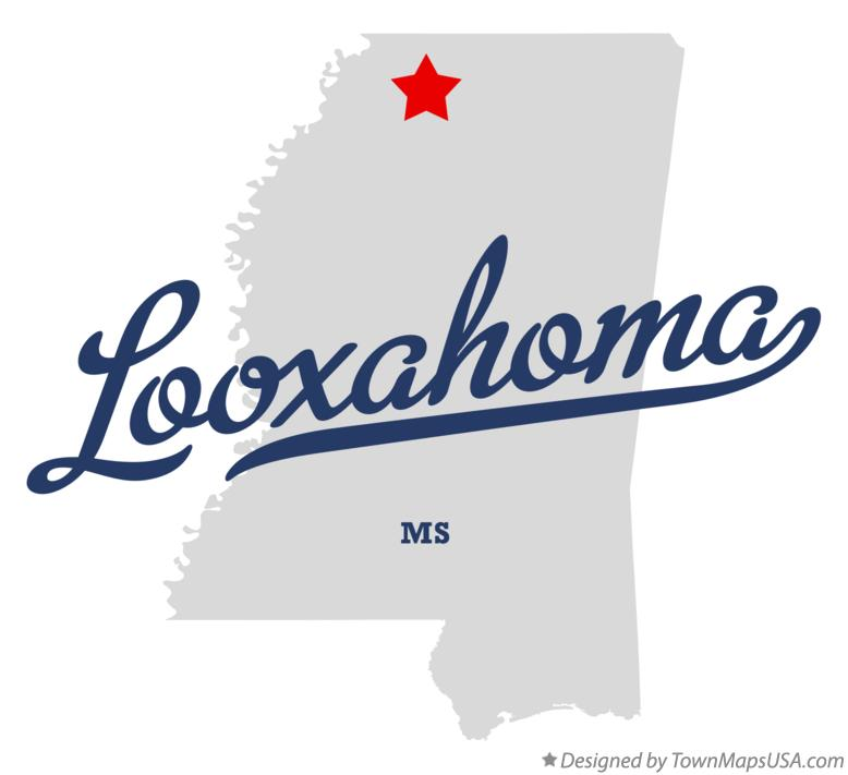 Map of Looxahoma Mississippi MS