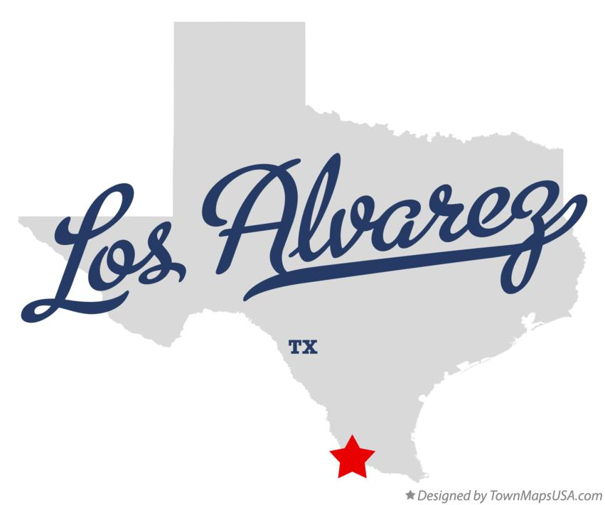 Map of Los Alvarez Texas TX