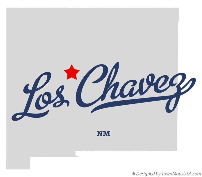 Map of Los Chavez New Mexico NM