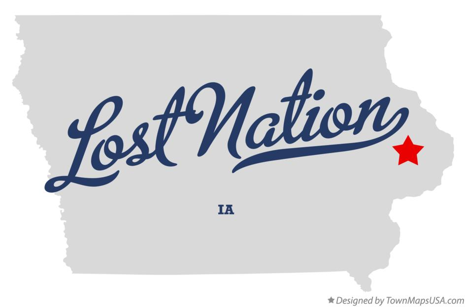 Map of Lost Nation Iowa IA