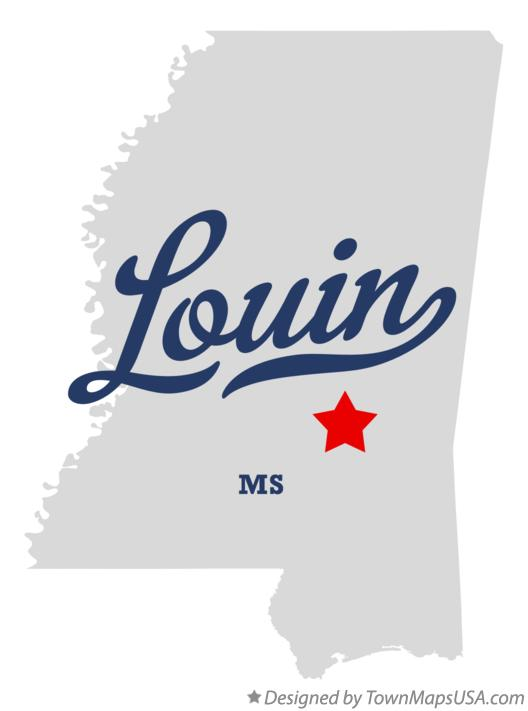 Map of Louin Mississippi MS
