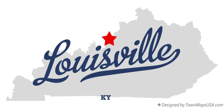 Map of Louisville Kentucky KY