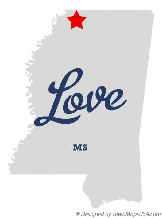 Map of Love Mississippi MS