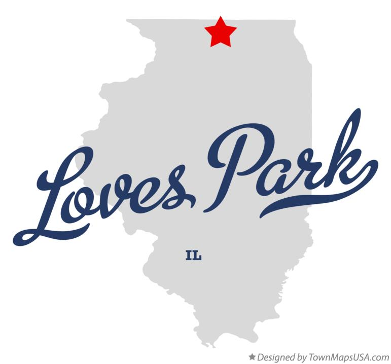 Map of Loves Park Illinois IL