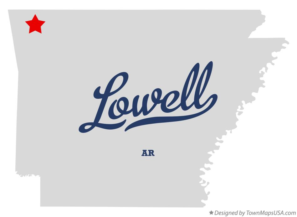 Map of Lowell Arkansas AR
