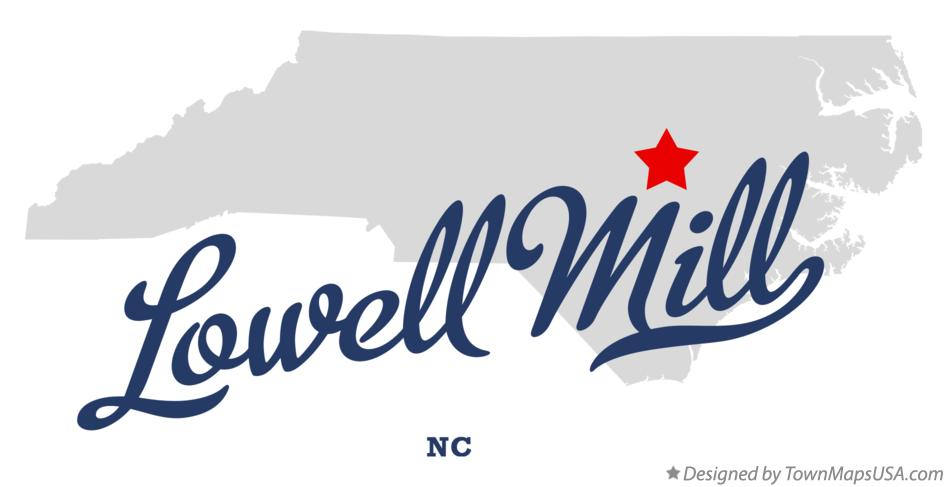 Map of Lowell Mill North Carolina NC