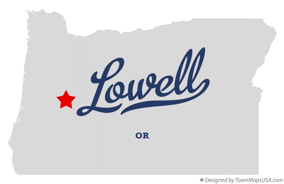 Map of Lowell Oregon OR