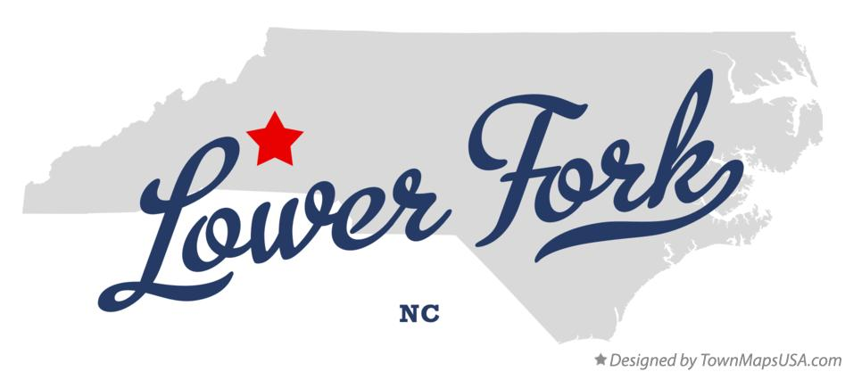 Map of Lower Fork North Carolina NC