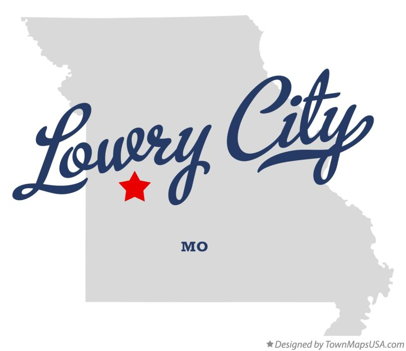 Map of Lowry City Missouri MO