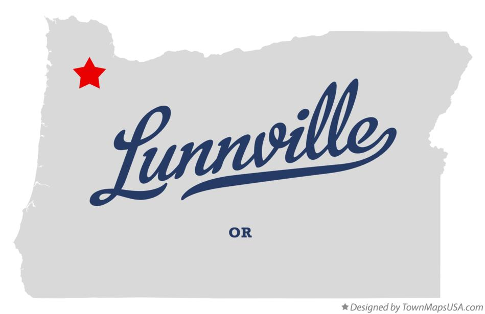 Map of Lunnville Oregon OR