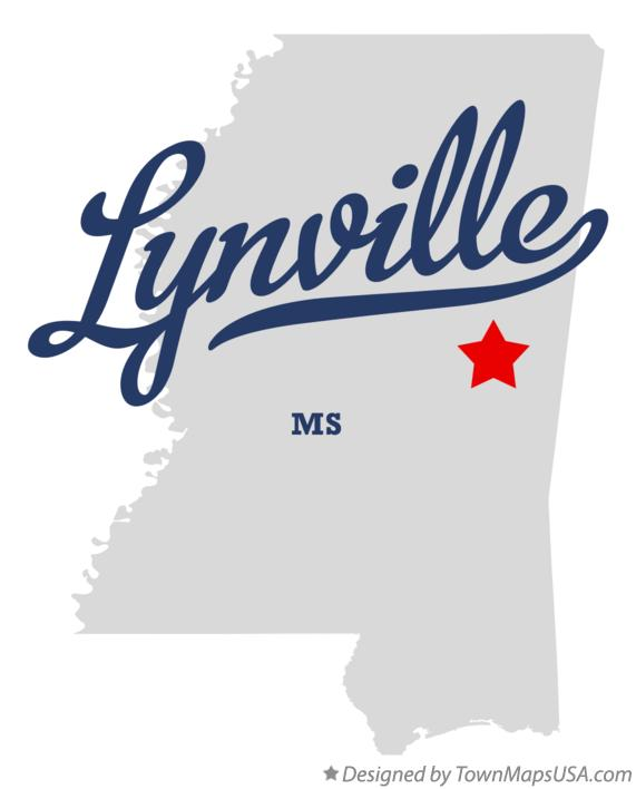 Map of Lynville Mississippi MS