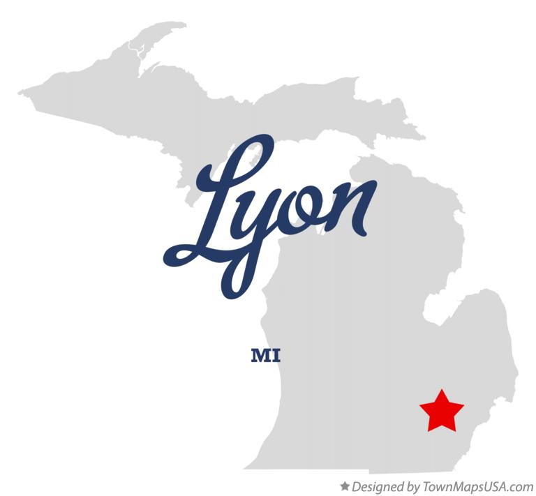 Map of Lyon Michigan MI