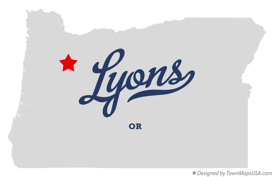 Map of Lyons Oregon OR