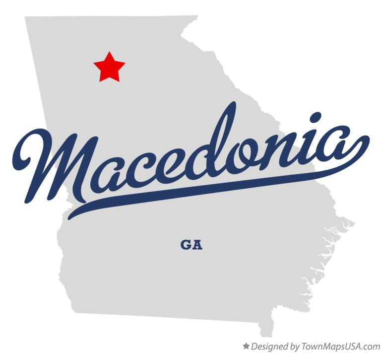Map of Macedonia Georgia GA