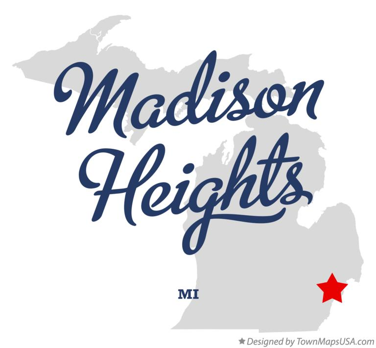Map of Madison Heights Michigan MI