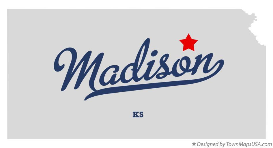 Map of Madison Kansas KS