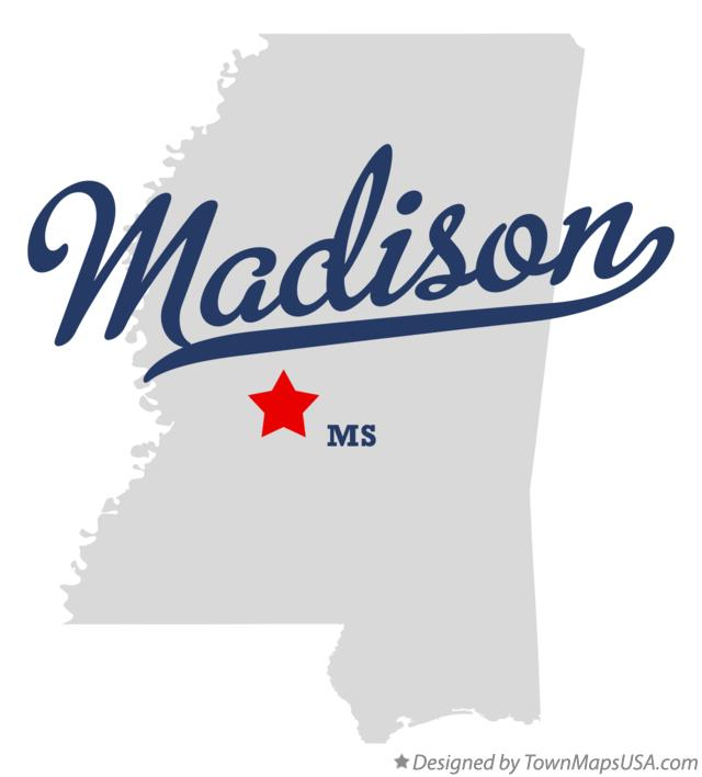 Map of Madison Mississippi MS