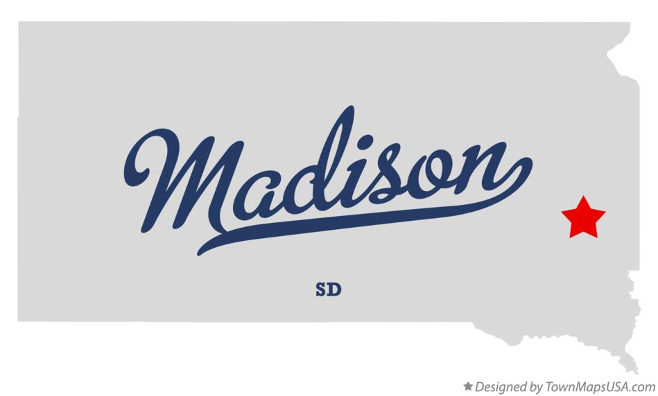 Map of Madison South Dakota SD