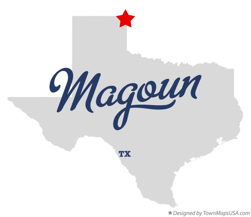 Map of Magoun Texas TX